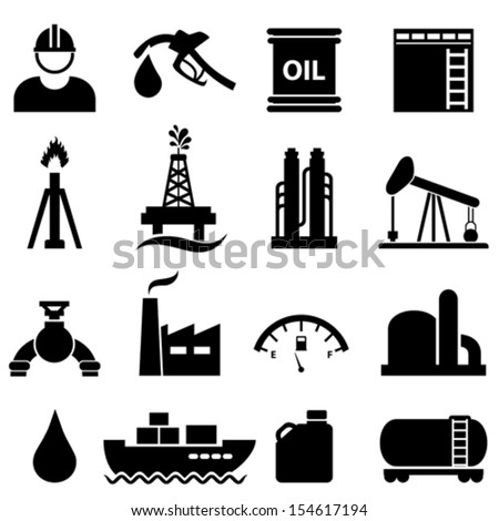Oil, gasoline and petroleum related icon set - stock vector