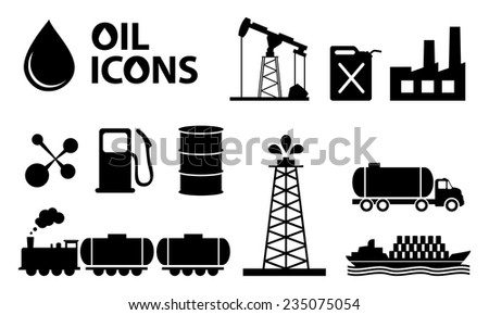 oil icons in black color - stock vector