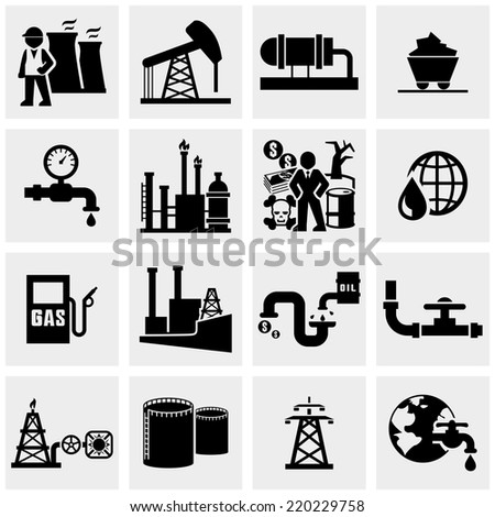 Oil  icons set on gray  - stock vector