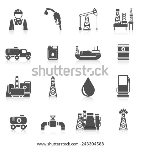 Oil industry black icons set with worker gasoline dispenser drilling plant isolated vector illustration - stock vector