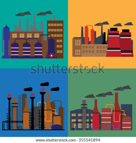 Oil industry business concept of gasoline diesel production fuel distribution and transportation . Vector illustration - stock vector