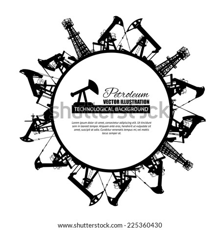 Oil industry circle frame isolated over white. Vector illustration. - stock vector
