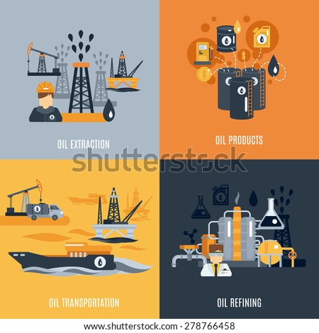 Oil industry design concept set with products extraction transportation and refining flat icons isolated vector illustration - stock vector