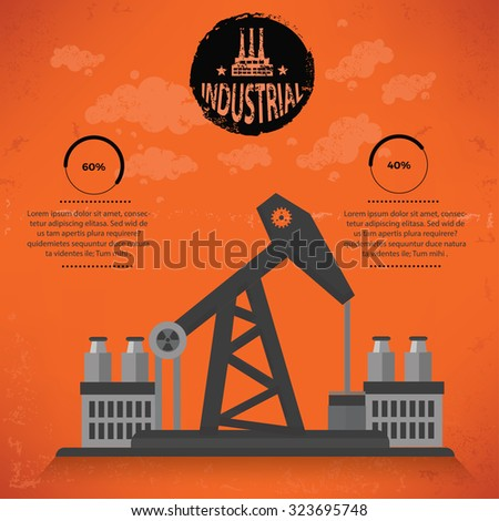 Oil industry design on old background,grunge vector - stock vector