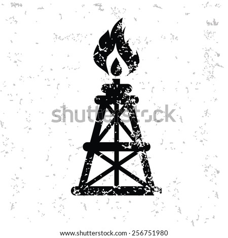 Oil industry design on old paper,grunge vector - stock vector