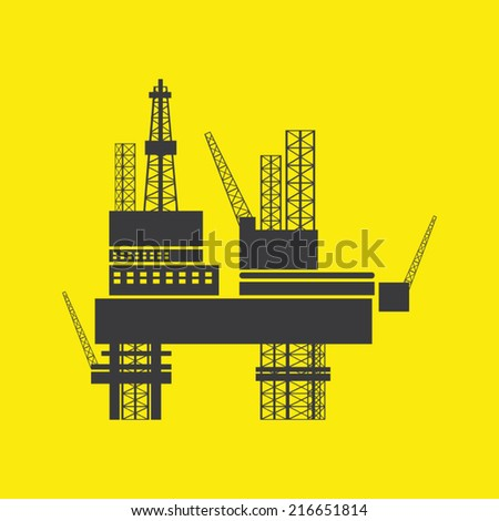 oil industry design over background vector illustration . Silhouette of Offshore Jack Up Rig - stock vector