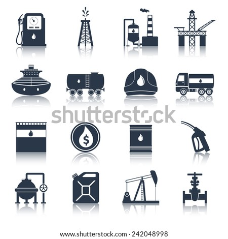 Oil industry diesel canister fuel tanker gas terminal icons black set isolated vector illustration - stock vector