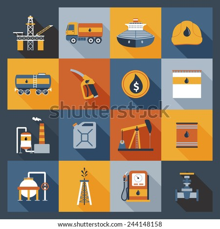 Oil industry drilling gas terminal fuel canister icons flat set isolated vector illustration - stock vector