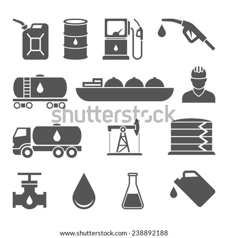 Oil industry drilling refining process petroleum transportation icons set with oilman and pump flat isolated vector illustration - stock vector