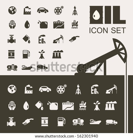 Oil Industry Flat Icon Set - stock vector