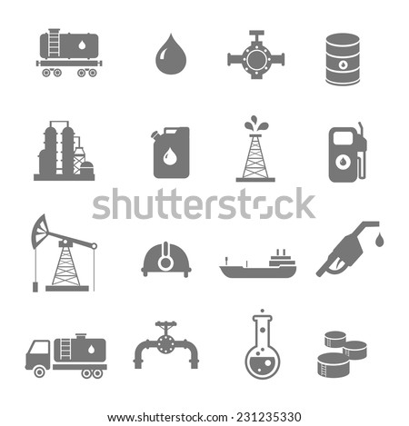 Oil industry gasoline processing  symbols icons set with oilman  tanker truck petroleum can and pump isolated vector illustration - stock vector