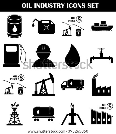 Oil industry icons set. Petroleum and gasoline transportation. Energy and fuel production. Vector illustration. - stock vector