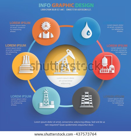 Oil industry info graphic design on blue background,vector - stock vector