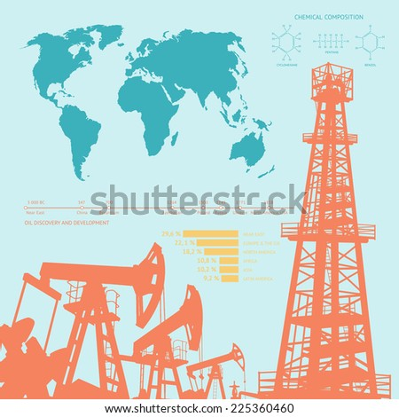 Oil industry infographics over orange background. Vector illustration. - stock vector