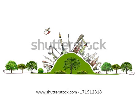 Oil industry pumpinf the green hill Enviromental consept - stock vector