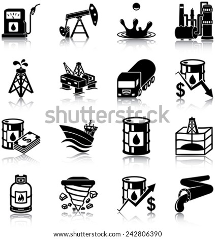 Oil industry related vector icons / silhouettes - stock vector