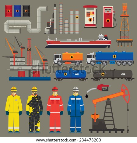 Oil industry set with pipeline brush - stock vector