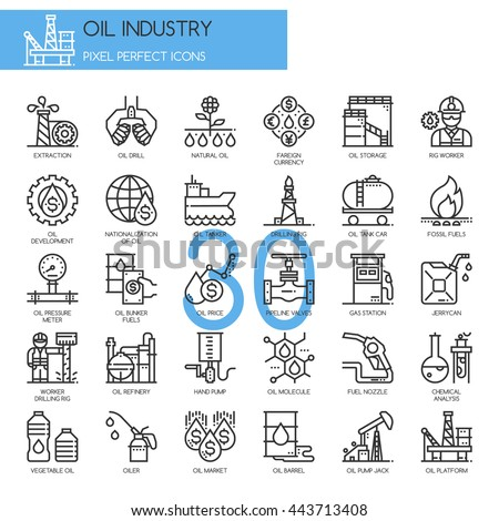 Oil Industry , Thin Line and Pixel Perfect Icons