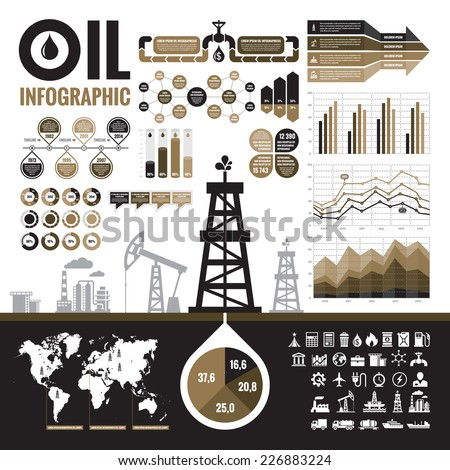 Oil industry - vector infographic elements for presentation, booklet and other design project. Production, transportation and refining of oil - infographic vector set. Included 32 vector icons.  - stock vector