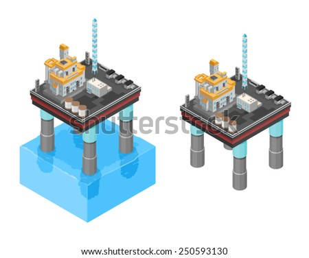 Oil or Gas rig drilling for fuel production. Isometric Oil Rig. Isometric oil drilling icons. - stock vector