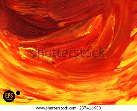 Oil painted background. Vector illustration. Abstract backdrop with yellow and red paint strokes. - stock vector
