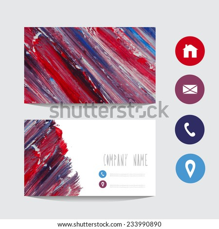 Oil painted business card template, design element. Can be used also for greeting cards, banners, invitations. Vectorized background - stock vector