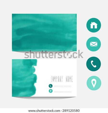 Oil painted business card template in mint colors, design element. Can be used also for greeting cards, banners, invitations. Vectorized background - stock vector