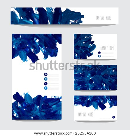 Oil painted business card templates in blue colors, design elements. Can be used also for greeting cards, banners, invitations. Vectorized background - stock vector