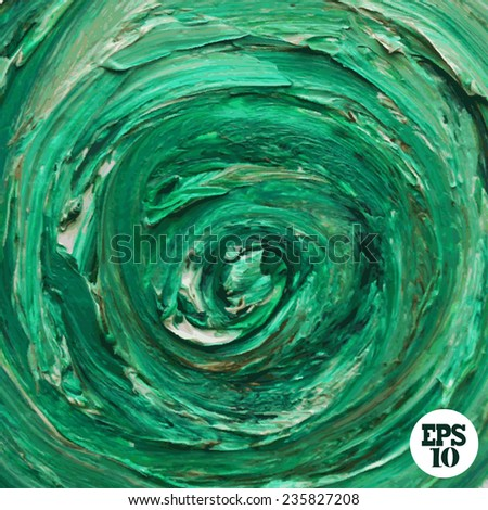 Oil painted green background, design element. Can be used for cards, invitations, greetings, scrapbooking - stock vector