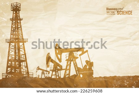 Oil plant design on the ond paper texture. Vector illustration. - stock vector