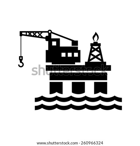 Oil Platform for Logo and Icon. Vector - stock vector