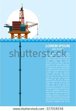 Oil platform in the ocean - stock vector