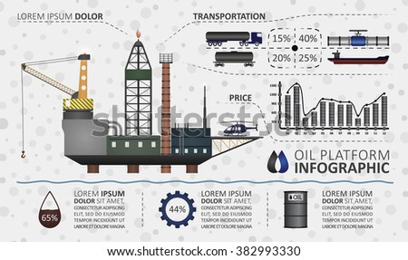 Oil platform infographics. Illustration includes graphics and example text. Grey background with circles. Oil gas series - stock vector