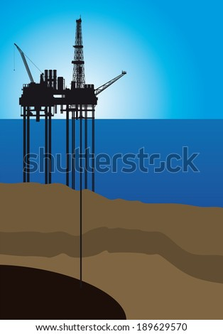 Oil platform on sea, vector illustration - stock vector