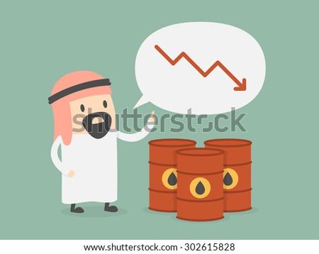 Oil price drops. Business concept cartoon illustration. - stock vector