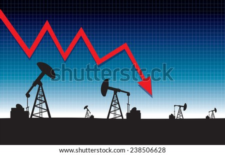Oil price fall graph illustration on oil pump field at dawn background.vector illustration - stock vector