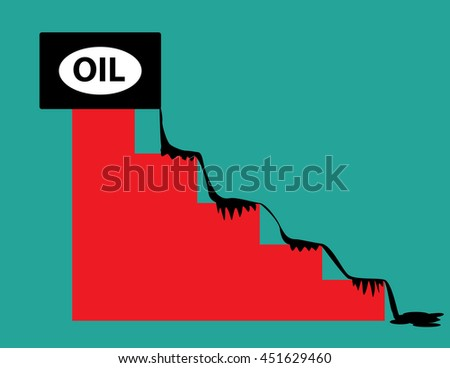 Oil price falling concept  a barrel of crude petroleum spilling down on a financial chart. Concept business illustration. Vector flat - stock vector