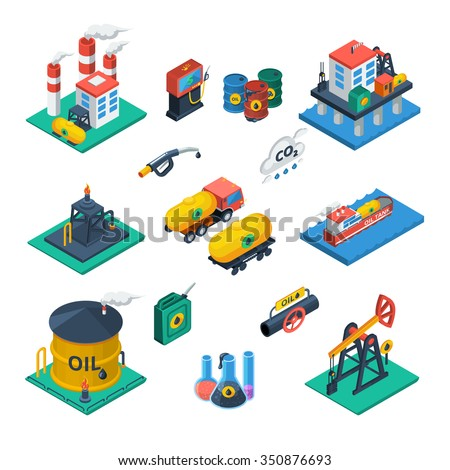 Oil production and distribution industry constructions isometric icons collection with refinery reservoir tank abstract vector isolated illustration
