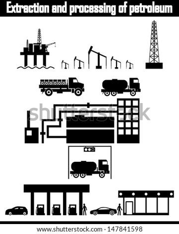 oil production equipment vector - stock vector