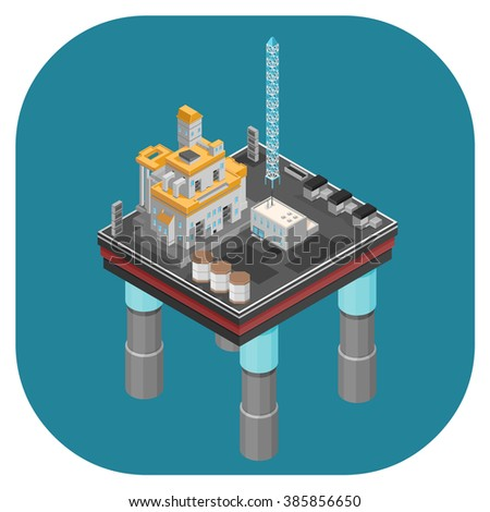 Oil production industry web icon.  Isometric vector illustration of an Industrial Oil Rig. Web icons for oil production and refining.  - stock vector