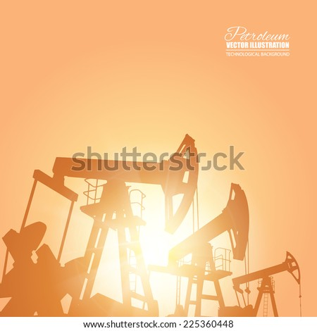 Oil pump energy industrial machine for petroleum over the sunset. Vector illustration. - stock vector