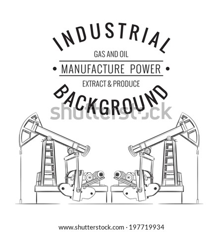 Oil pump isolated over white with label. Vector illustration. - stock vector
