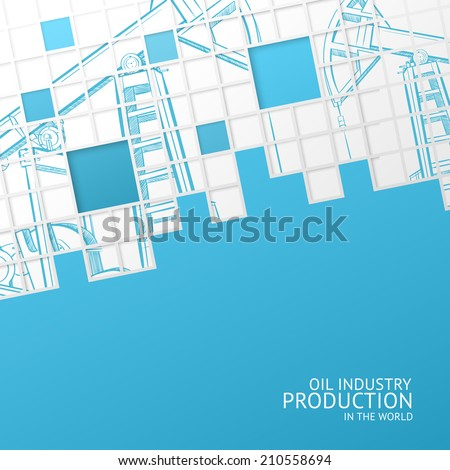 Oil pump mosaic card for your design. Vector illustration. - stock vector