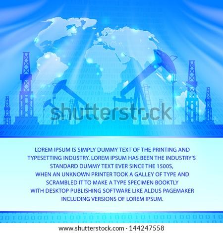 Oil Pump on blue. Vector illustration. - stock vector