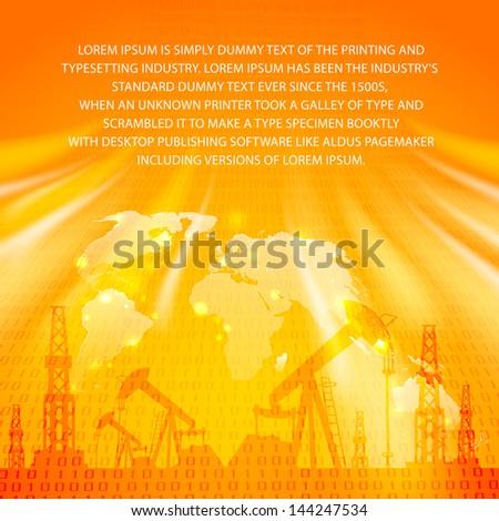 Oil Pump on orange. Vector illustration. - stock vector