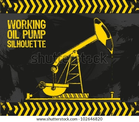 oil pump with grunge edges on a grunge background vector illustration - stock vector