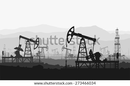 Oil pumps at large oilfield over mountain range. Detail vector illustration.  - stock vector
