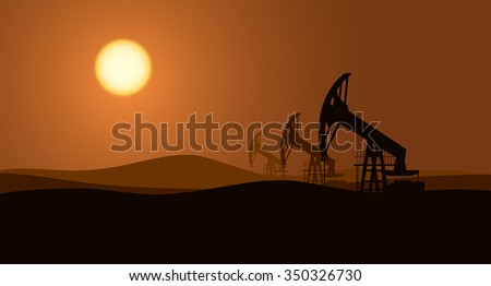 Oil pumps background - stock vector