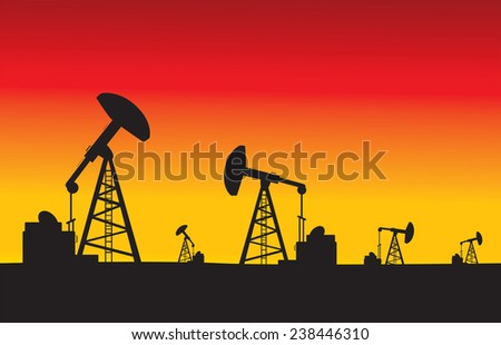 oil pumps in sunset vector illustration - stock vector