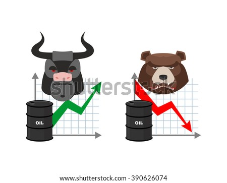 Oil quotations increase. Barrel of oil declines. Bull and bear. Business graph. Traders in securities market. Players on the Exchange. Green arrow and red arrow - stock vector